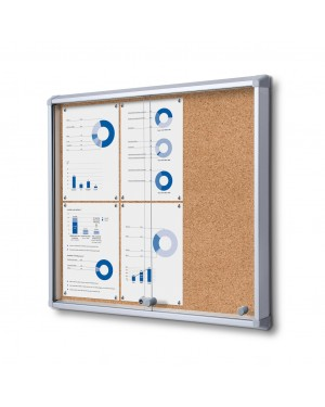 Prikbord Kurk SL Afsluitbaar  Zilver - 3x2 A4
