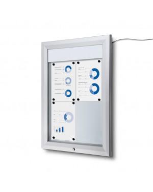 Vitrine Premium LED Buiten Zilver - DIN 2x2 A4 (44x61,5 cm)