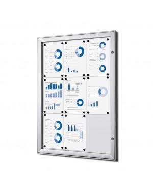 Notitiebord S Afsluitbaar Magnetisch Zilver - DIN 3x3 A4 (66x92,3 cm)