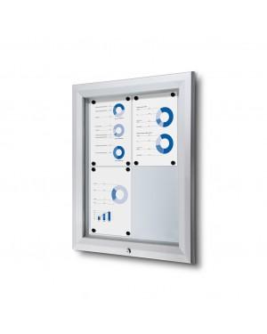 Notitiebord Afsluitbaar Magnetisch Weerbestendig Brandwerend Zilver - DIN 2x2 A4 (44x61,5 cm)